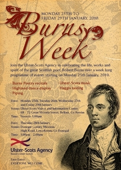 Ulster-Scots Agency to hold longest running 'Burns Supper' picture